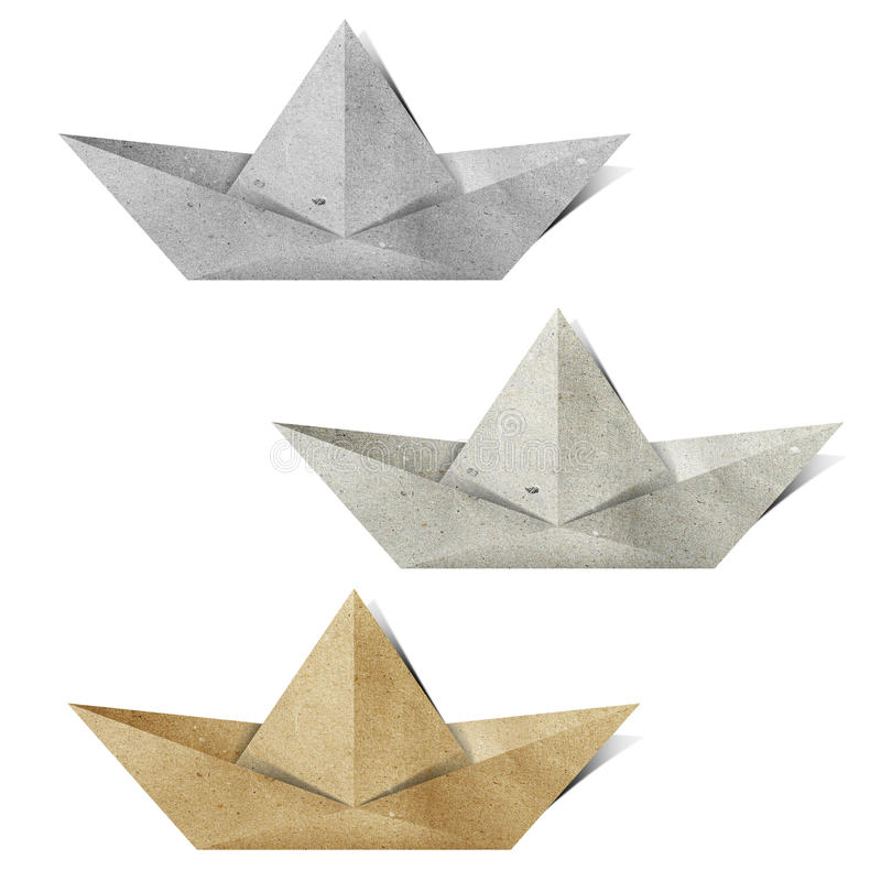 Ofício de papel recicl de Origami barco de papel fotografia de stock royalty free