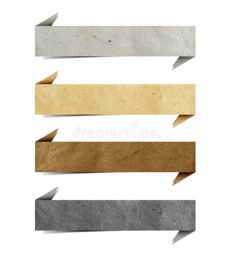 Ofício de papel recicl Tag do origami do encabeçamento fotografia de stock royalty free
