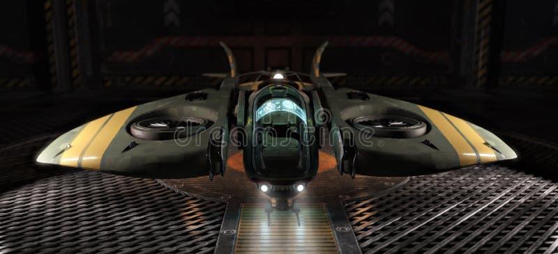 Ofício do espaço da luz da única pessoa entrado em um hangar ilustração do vetor
