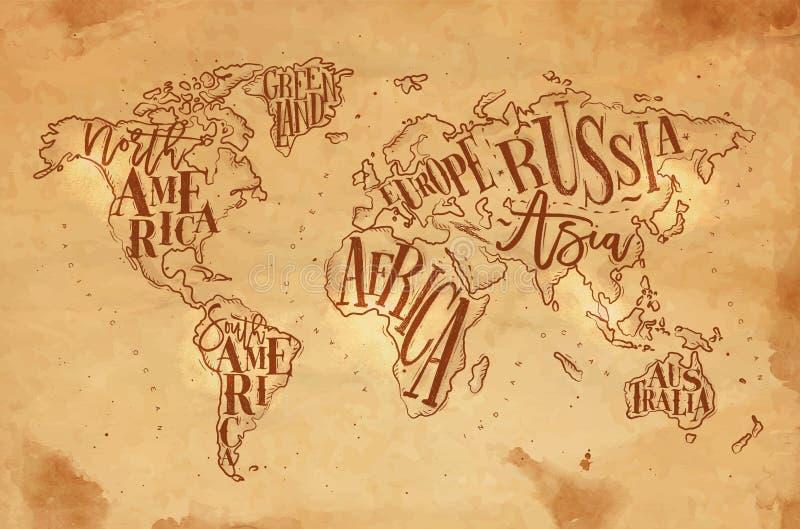 Ofício do vintage de Worldmap ilustração do vetor