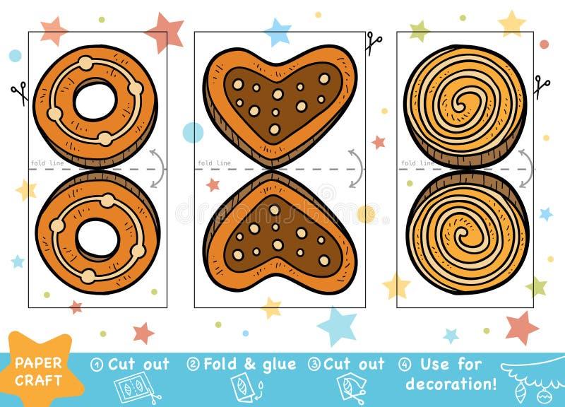 Ofícios de papel do Natal da educação para crianças, cookies do Natal ilustração do vetor