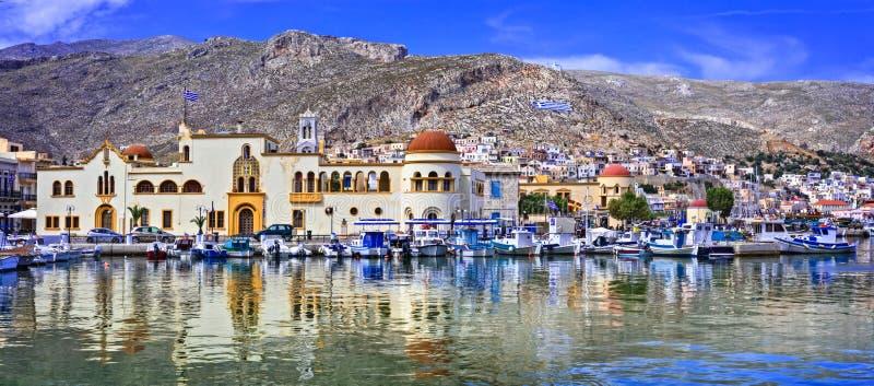 Ofördärvade grekiska öar - sceniska Kalymnos med autentisk skönhet Dodekanese Grekland arkivfoton