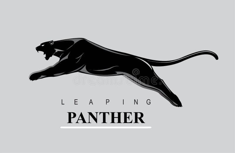Oförskräckt panter Hoppa pantern Rytande panter vektor illustrationer