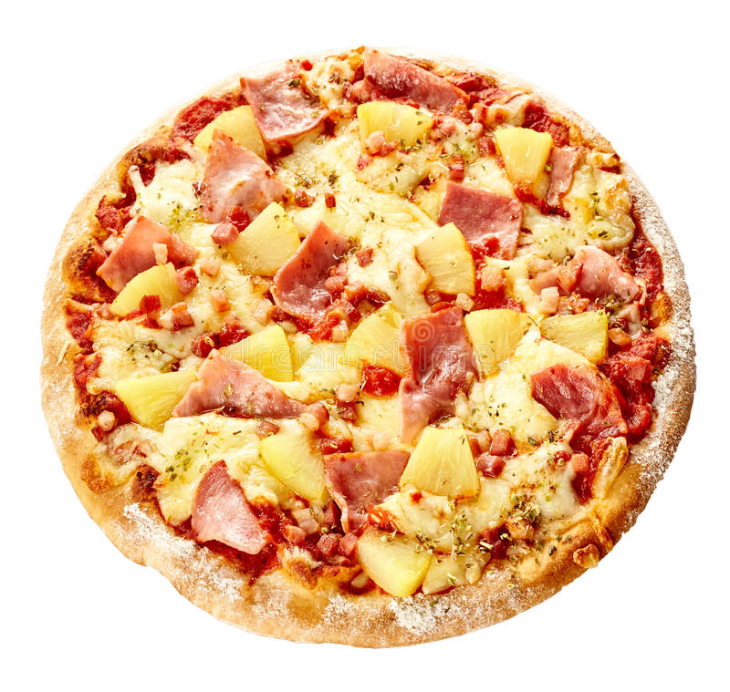 Ofen-gebackene köstliche italienische hawaiische Pizza stockfotografie
