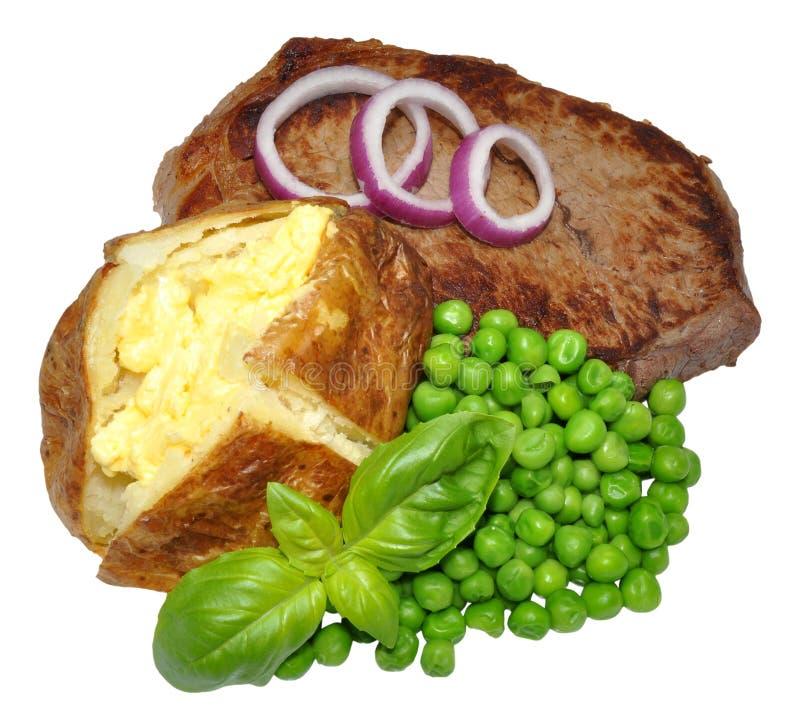 Ofenkartoffel-und Rindfleisch-Steak-Mahlzeit stockbild
