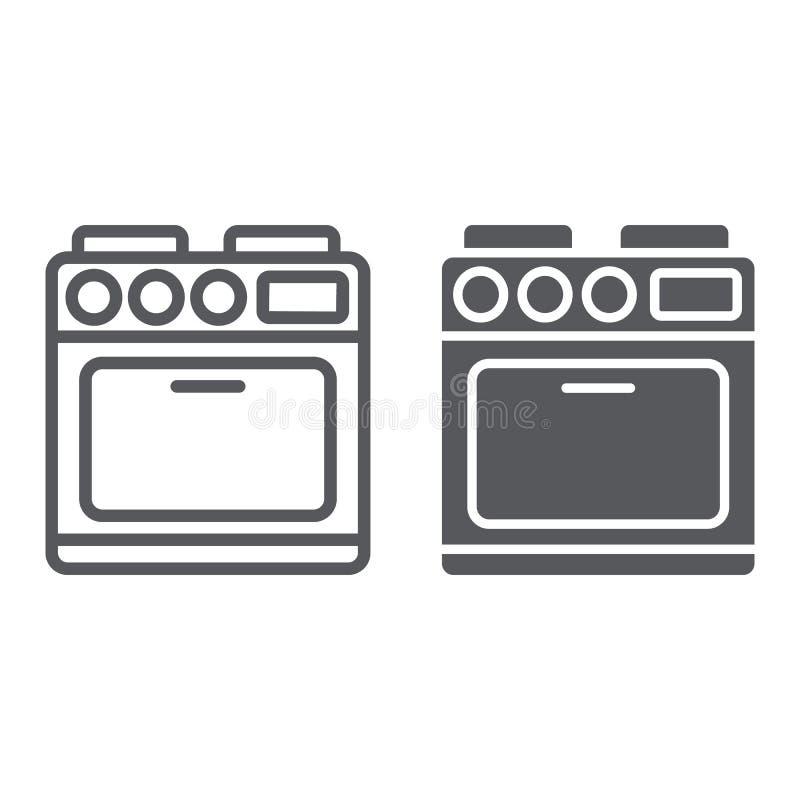 Ofenlinie und Glyphikone, Gerät und Kochen, Kocherzeichen, Vektorgrafik, ein lineares Muster auf einem weißen Hintergrund vektor abbildung