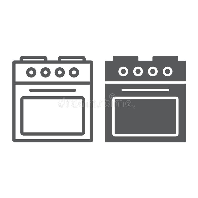 Ofenlinie und Glyphikone, Haus und Gerät, Ofenzeichen, Vektorgrafik, ein lineares Muster auf einem weißen Hintergrund vektor abbildung