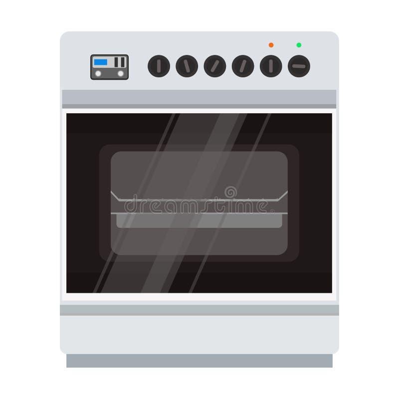 Ofenofenvektor-Ikonenillustration Lebensmittel, das Küchenpizza kocht stock abbildung