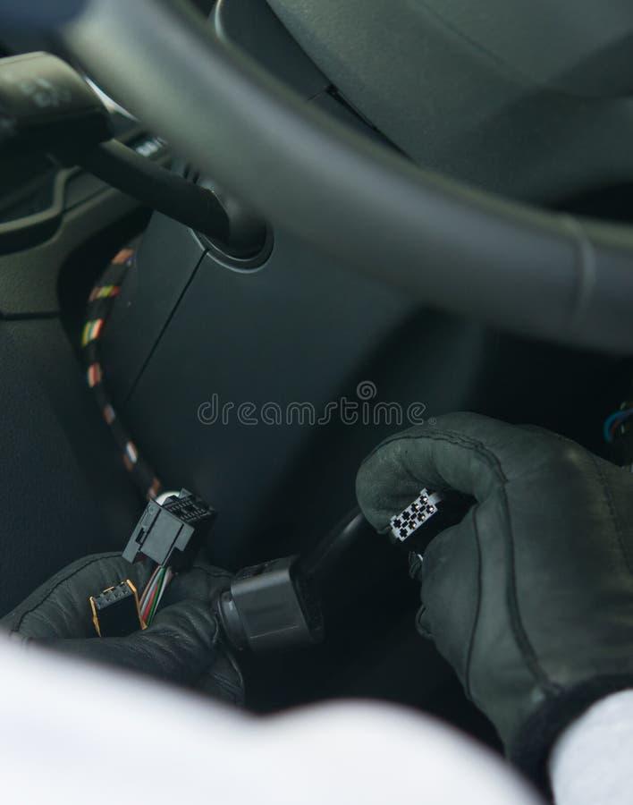 ofensa, roubo do propriedade-carro privado, close-up, ladrão fotos de stock