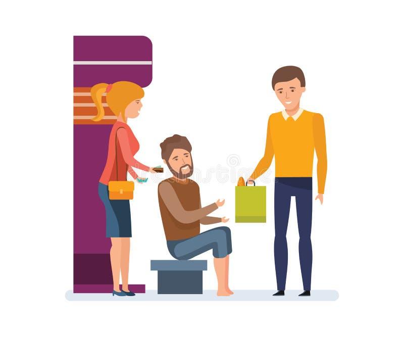 Oferecimento, ajudando uma pessoa desabrigada com dinheiro e alimento ilustração do vetor