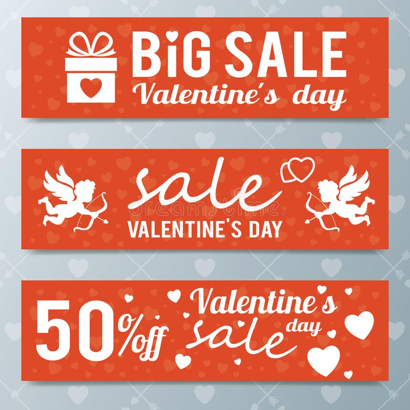 Oferta da venda do dia do ` s do Valentim, molde da bandeira Cargo do mercado da compra ilustração do vetor
