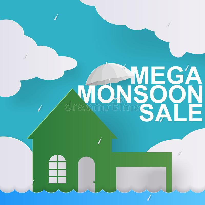Oferta da venda da estação das chuvas para a bandeira da promoção do disconto com nuvem, casa, guarda-chuva na arte de papel ilustração stock