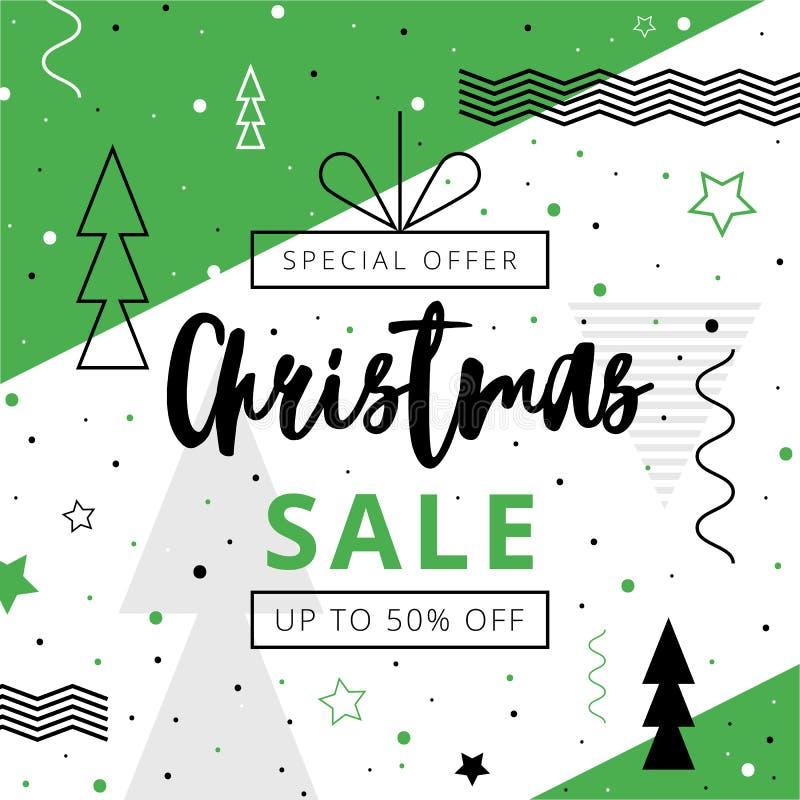 Oferta de la Navidad de Dicsount el hasta 50 por ciento apagado ilustración del vector