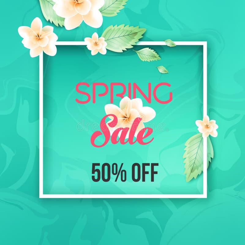 Oferta de venta de primavera abstracta diseño de banners con marco libre illustration