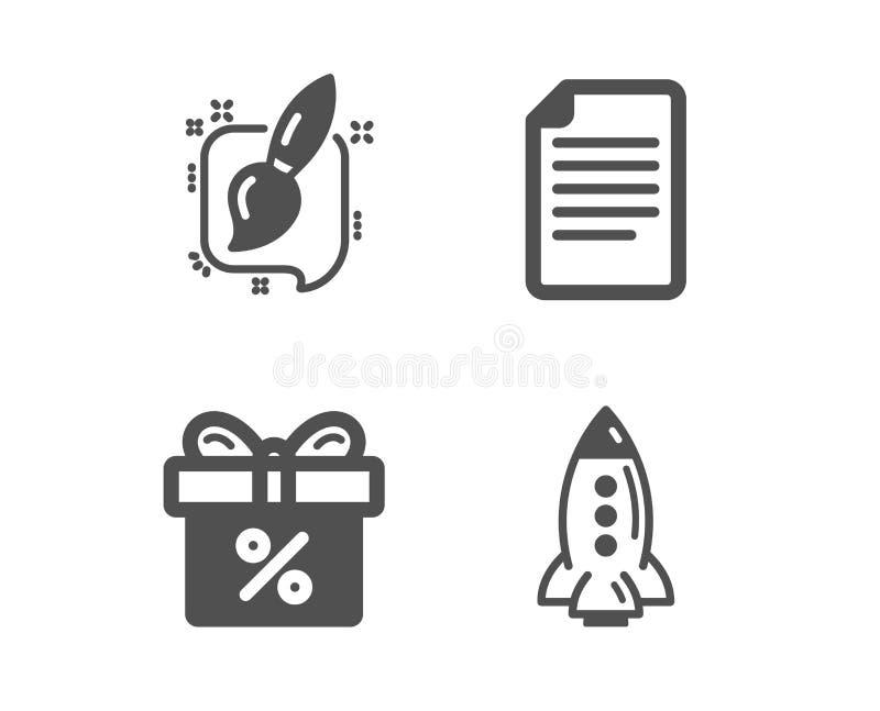 Oferta do arquivo, do desconto e de escova de pintura ícones sinal do foguete Página de papel, caixa de presente, arte gráfica sp ilustração stock