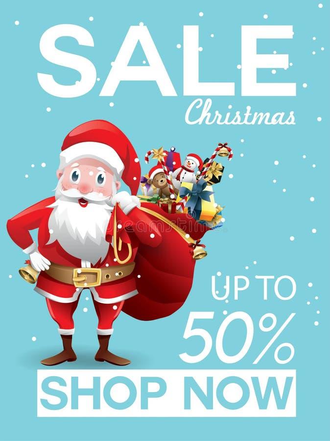 Oferta do desconto da venda do Natal Desenhos animados Santa Claus com o saco vermelho enorme com presentes na cena da neve para  ilustração royalty free