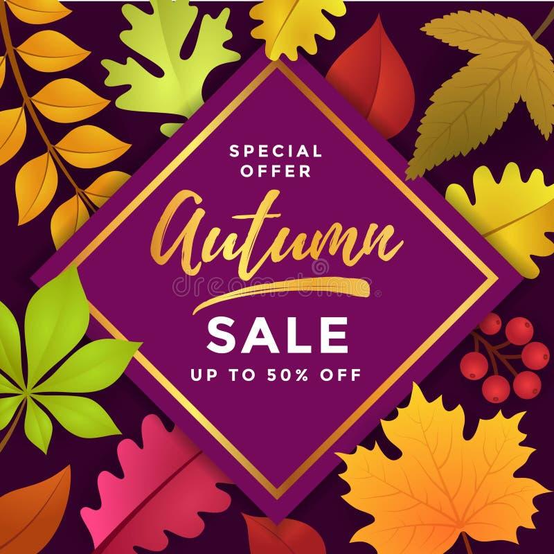 Oferta especial Autumn Sale Poster Template Design ilustração do vetor