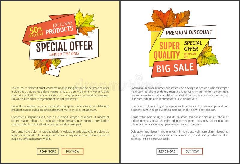 Oferta especial da qualidade super da venda 50 por cento fora ilustração do vetor