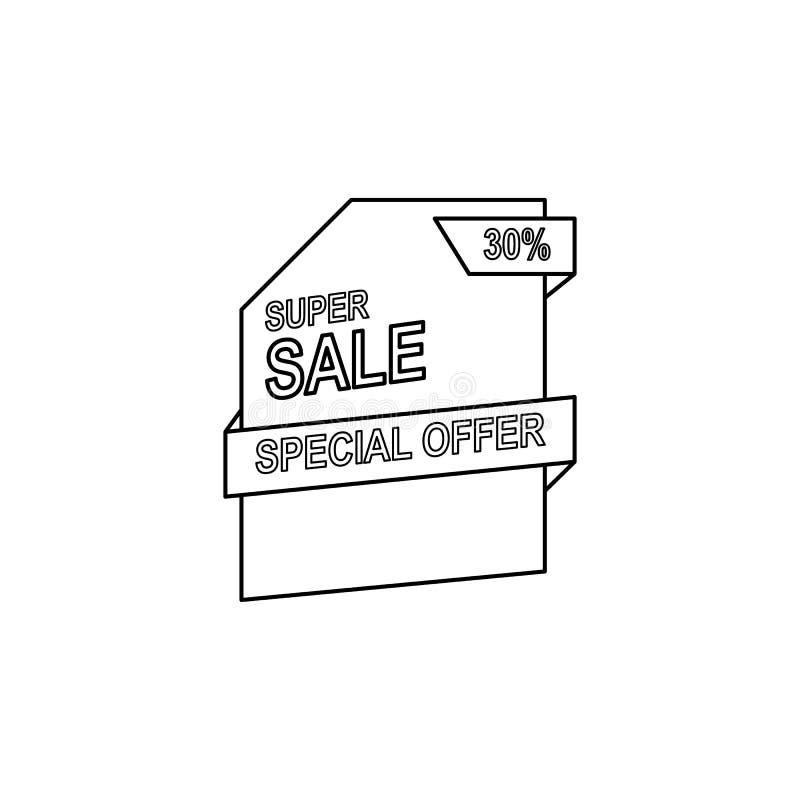oferta especial 30 del icono de los descuentos El elemento de la venta firma para los apps móviles del concepto y del web Línea f ilustración del vector