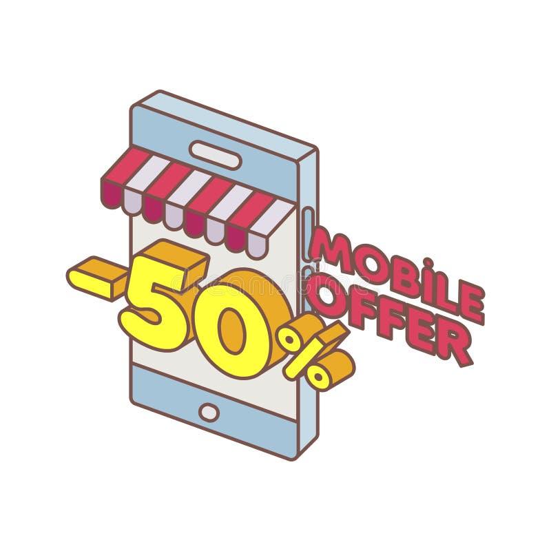 Oferta especial del teléfono elegante en línea stock de ilustración
