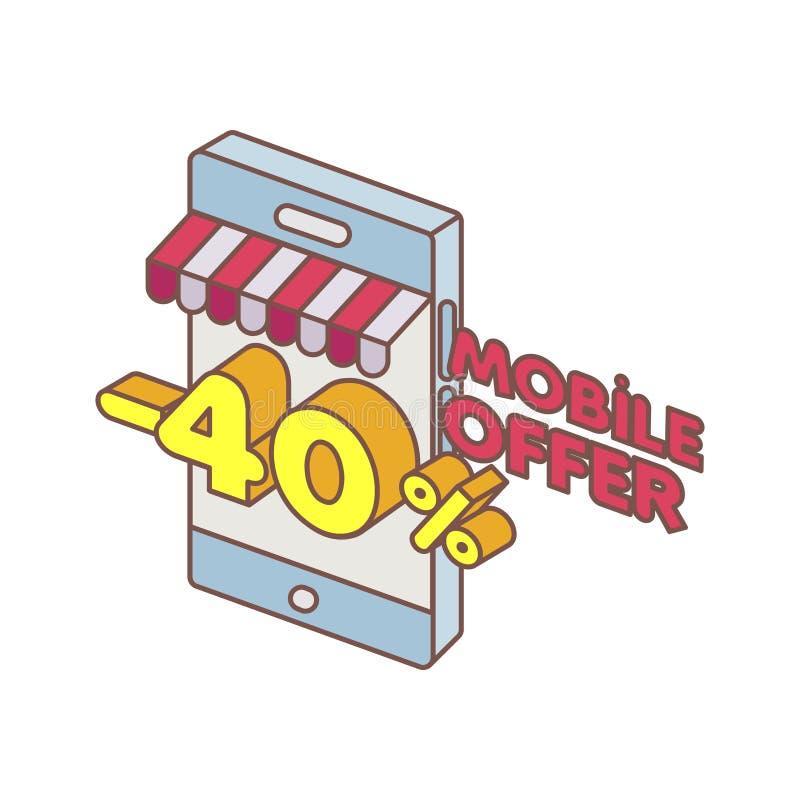 Oferta especial del teléfono elegante en línea ilustración del vector