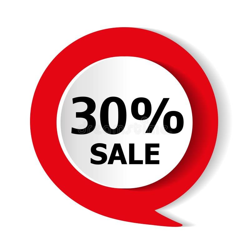 Oferta especial - descuento del 30% en las mercancías Icono del rojo del vector libre illustration