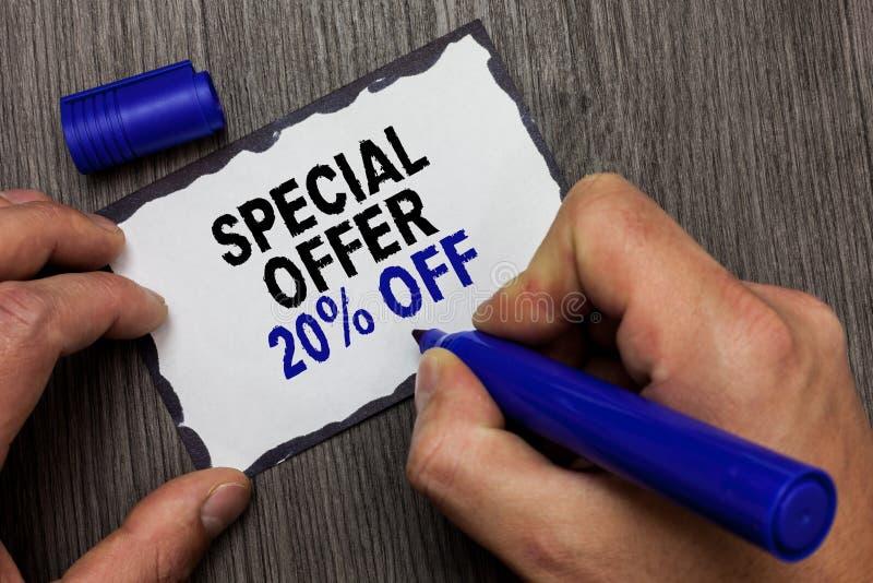 Oferta especial 20 do texto da escrita fora Da oferta varejo do mercado das vendas da promoção dos discontos do significado do co imagens de stock