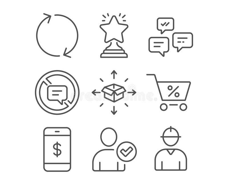 Oferta especial, identidade confirmada e da entrega do pacote ícones Pare de falar, pagamento de Smartphone e sinais do vencedor ilustração stock