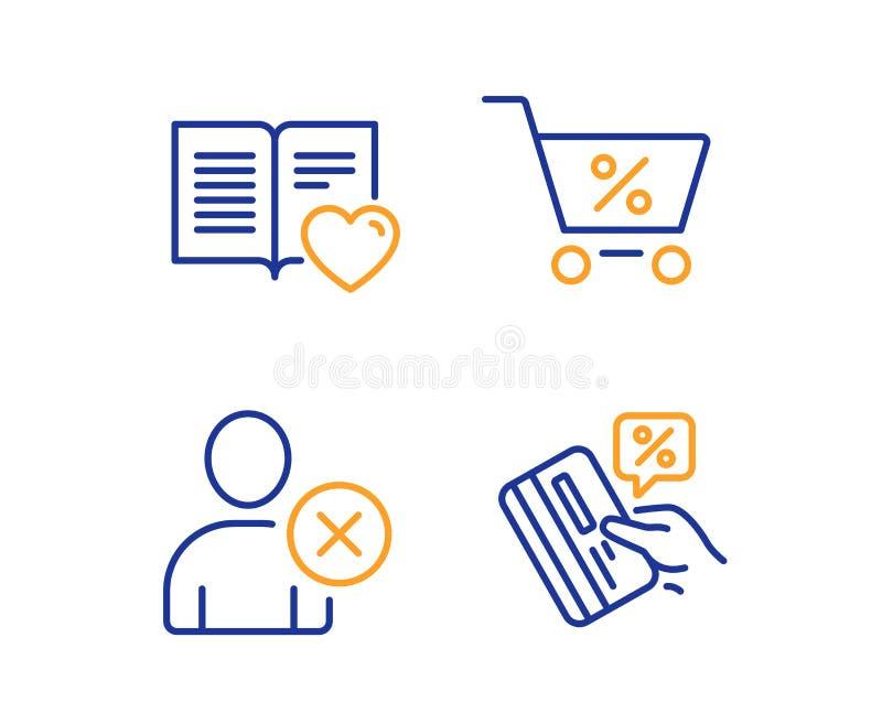 Oferta especial, libro del amor y sistema de los iconos del usuario de la cancelación Muestra de la tarjeta de crédito Vector ilustración del vector