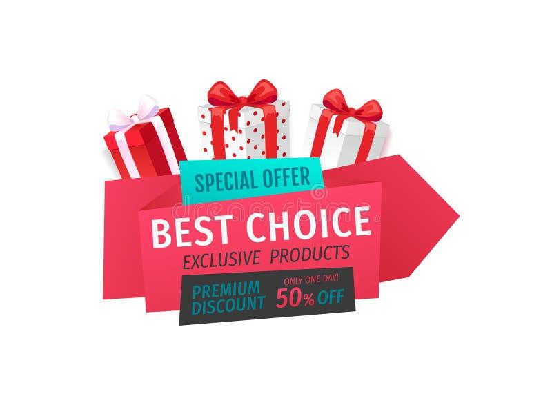 Oferta especial, a melhor escolha 50 por cento reduzidos fora ilustração royalty free