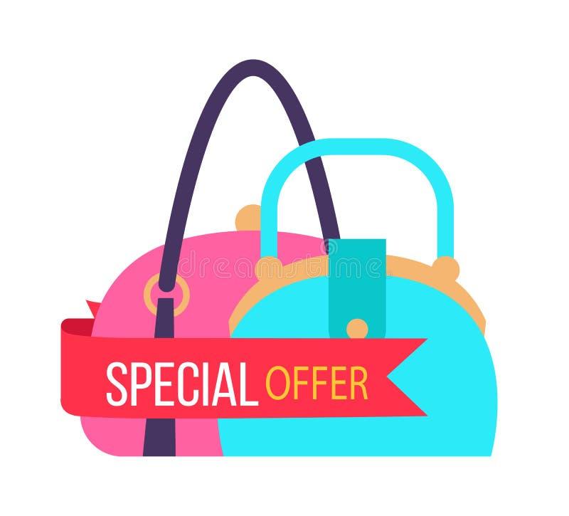 Oferta especial para los bolsos femeninos de moda ilustración del vector