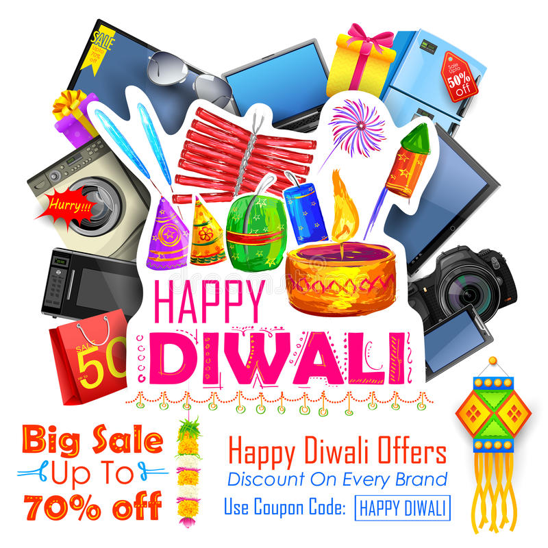 Oferta festiva de las compras para la promoción y el anuncio del día de fiesta de Diwali libre illustration