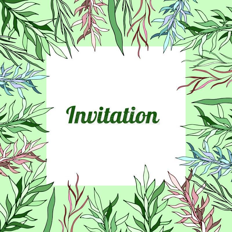 Oferta floral de la invitación de la tarjeta de las plantillas de la primavera botánica libre illustration