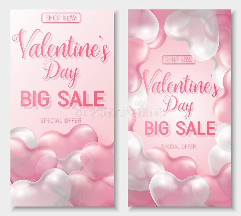 Oferta grande da venda do dia do Valentim s, molde da bandeira Balão lustroso cor-de-rosa e branco do coração 3d com texto ilustração stock
