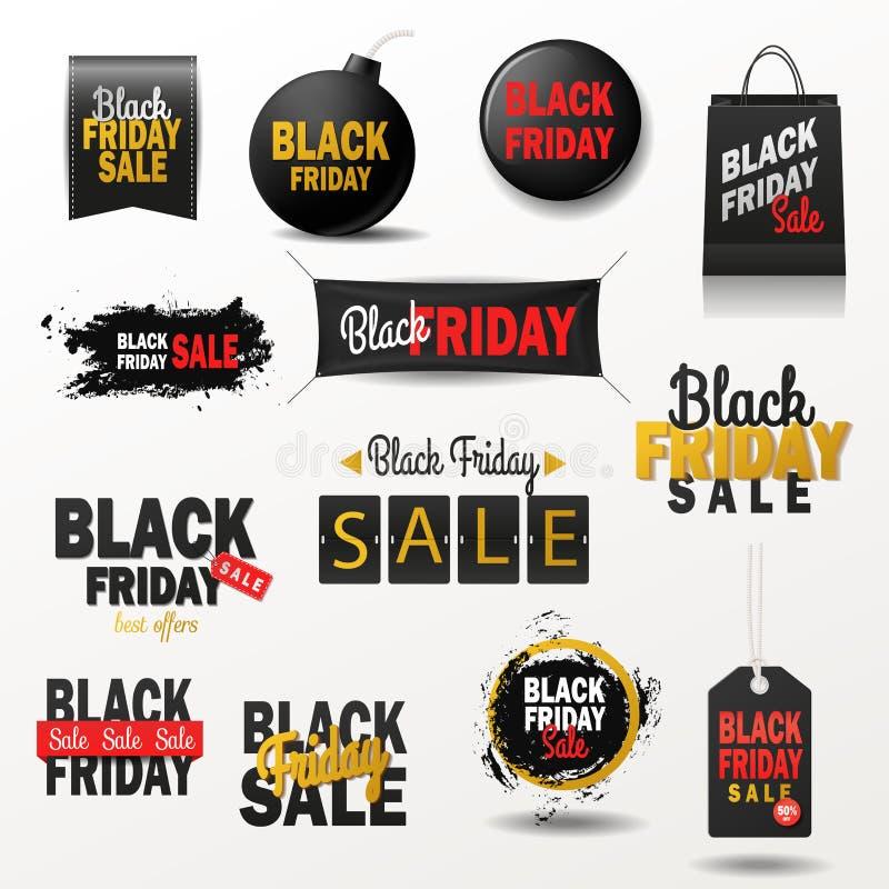 Oferta negra de las compras del vector de la bandera de la venta de viernes para el ejemplo del anuncio de las etiquetas engomada stock de ilustración