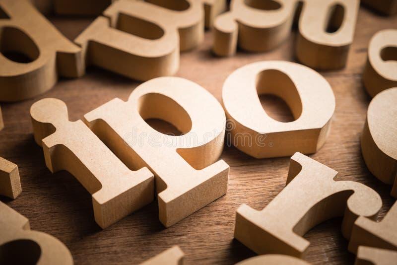 Oferta pública inicial de madera del alfabeto de IPO fotografía de archivo libre de regalías