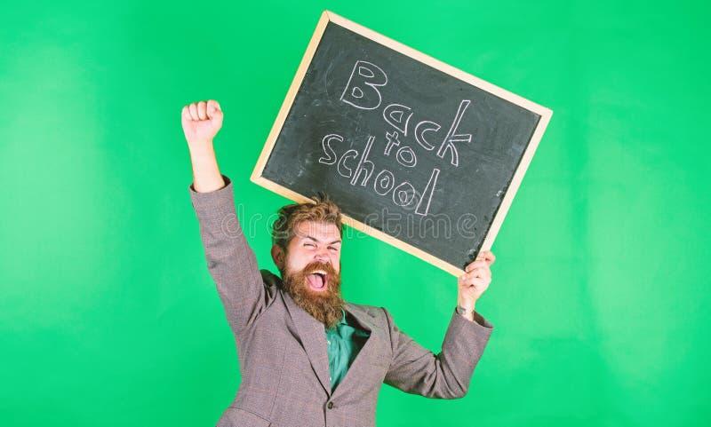 Oferta para professores e educadores Oferta especial de desconto e época escolar de venda O professor portador de homem guarda qu imagem de stock