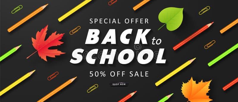 Oferta specjalna Z powrotem szkoły sprzedaż Reklamowy sztandar z kolorowymi ołówkami, jesień liśćmi i papierowymi klamerkami, wek ilustracji