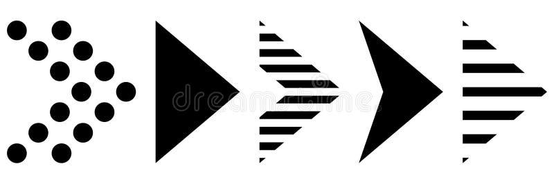 Oferta super para ajustar setas diferentes Estilo liso Graphhics do vetor Setas pretas ilustração royalty free