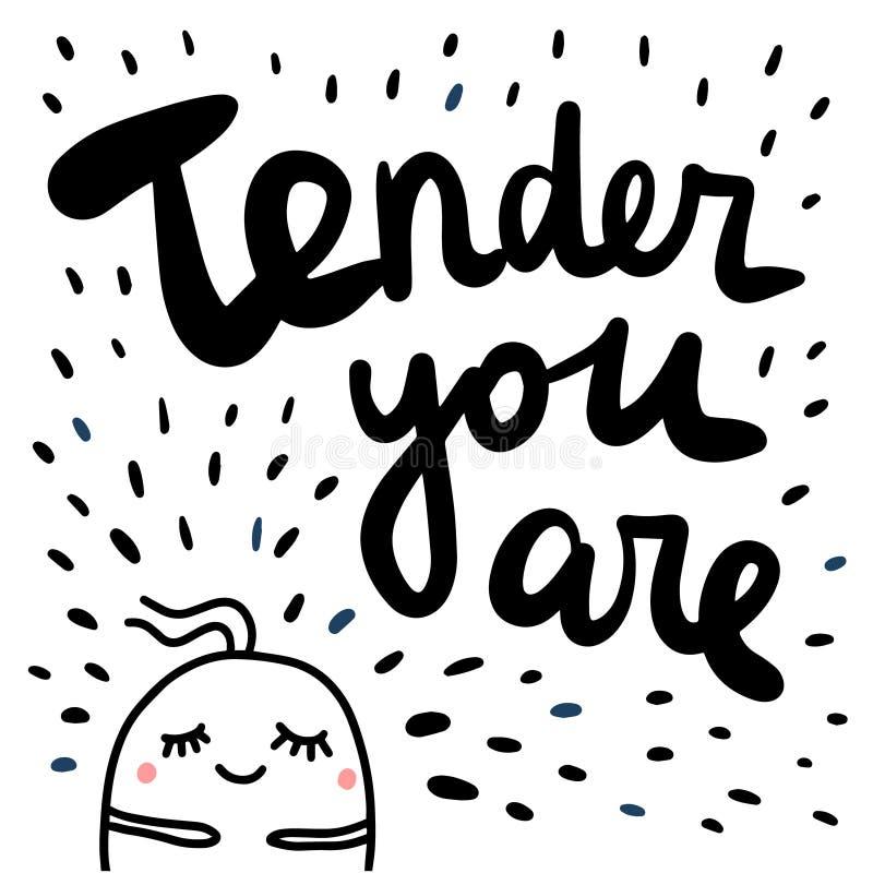 Oferta ty jesteś ręka rysującym ilustracją z ślicznym marshmallow dla druków plakatów sztandarów prezentacji tła majcherów ilustracja wektor