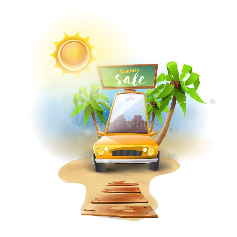 Ofertas de la venta del verano del coche libre illustration