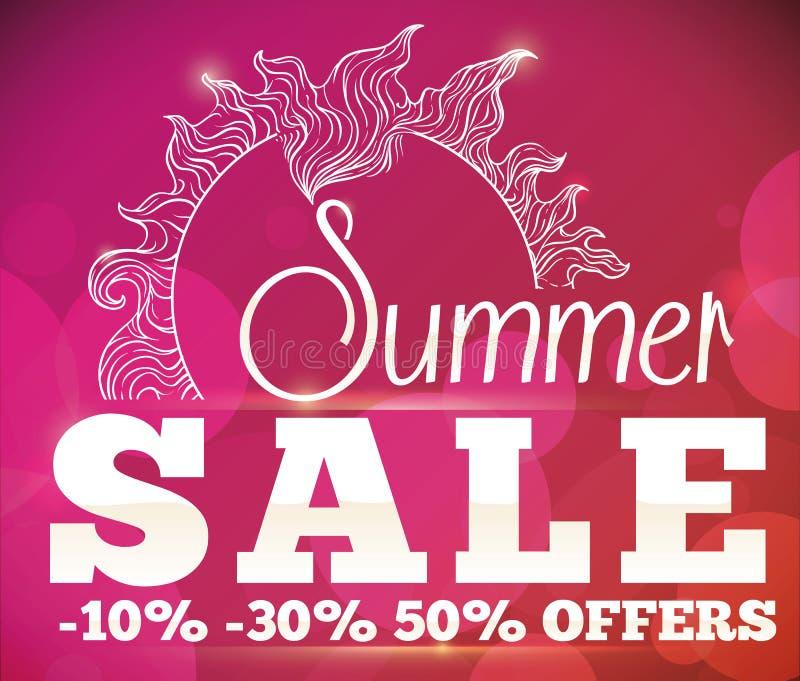Ofertas de la venta del verano con Sun y el cartel de Bokeh, ejemplo del vector libre illustration