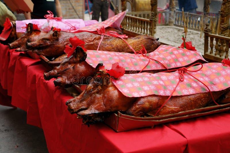 Ofertas dos porcos de Suckling. Um-Miliampère templo, Macau. fotografia de stock royalty free