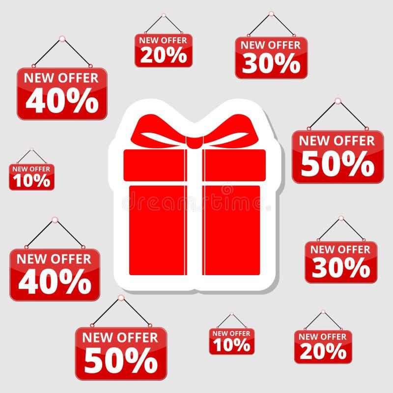 Ofertas especiales, descuentos y promociones que hacen compras, caja de regalo stock de ilustración