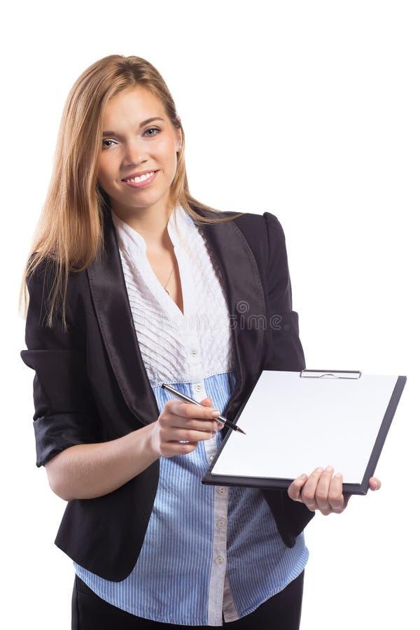 Ofertas novas das mulheres de negócios para assinar um original imagens de stock