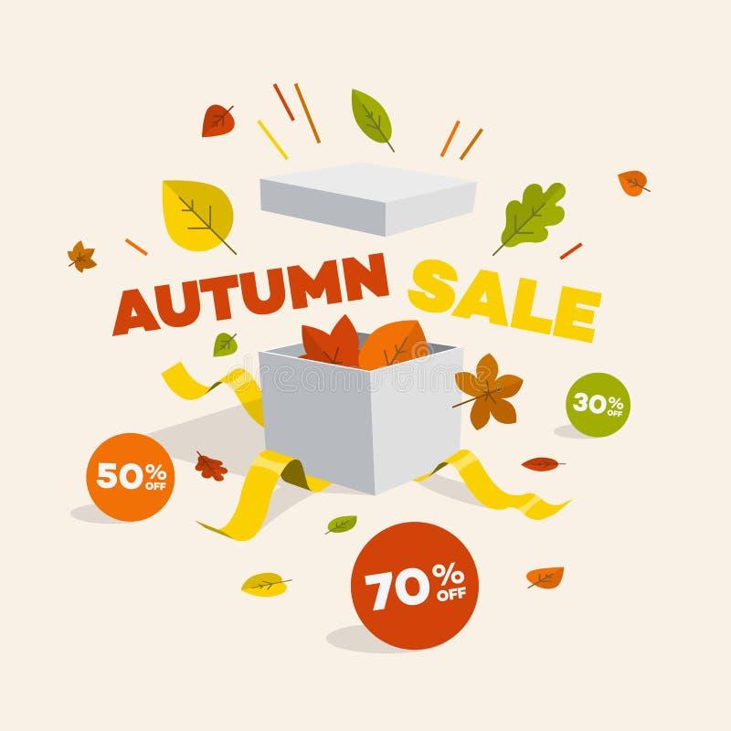 Oferty specjalnej jesieni rabata symbol z otwartym prezentem, rabat etykietkami i kolorowymi liśćmi, obraz royalty free
