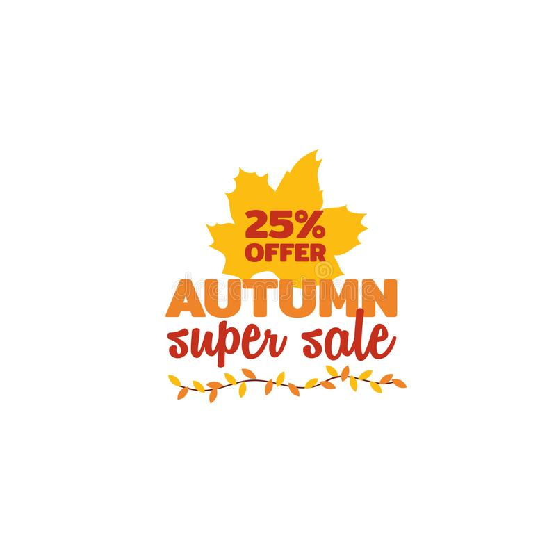 25% off autumn super sale typography with fall dry leaf twigs ornament vector illustration. Element for online shop web, banner, poster, flyer design stock illustration