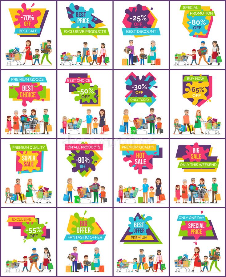 Set Of Christmas Promotion Vectors: Posters Price Stock Illustrations 6,831 Posters Price
