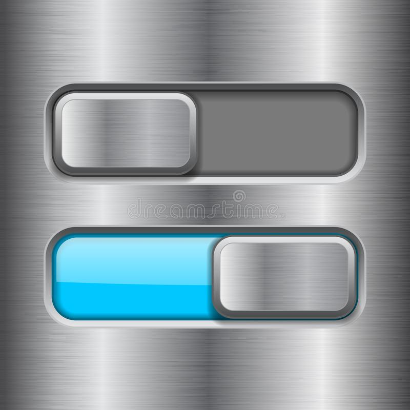 On and Off blue slider buttons. Metal switch interface buttons on iron background. Vector 3d illustration vector illustration