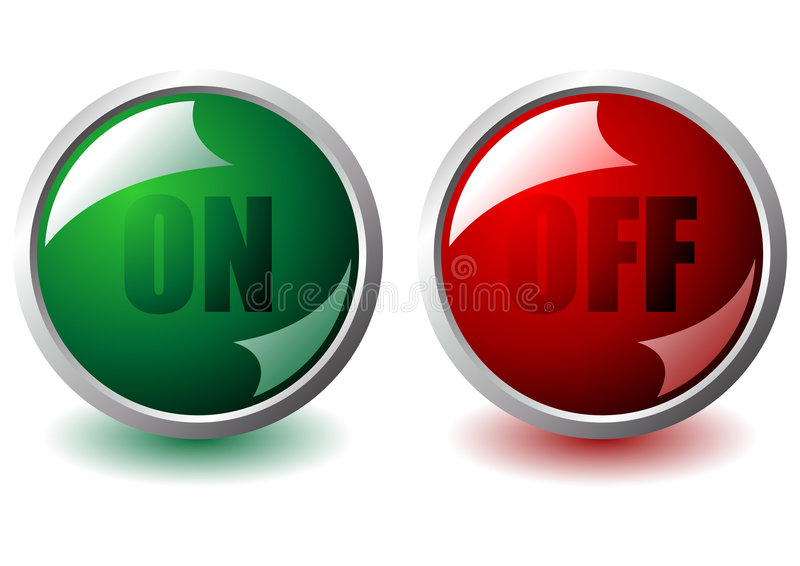 On and off buttons. On and off interface round buttons over white stock illustration